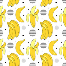 Vector Banana Pattern With Geo...