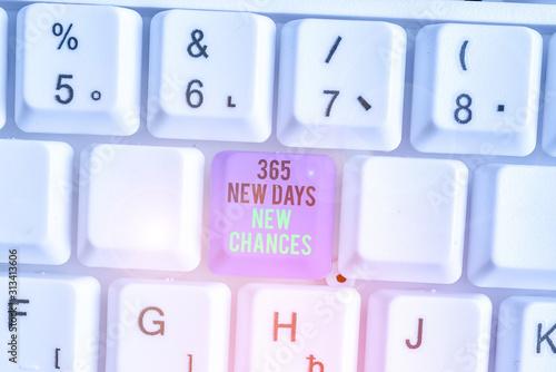 Writing note showing 365 New Days New Chances Billede på lærred