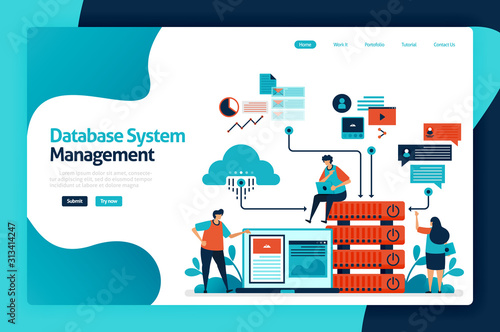Fototapeta Database system management landing page design. manage, control and manage data access to databases, cloud storage network, chart and graph. vector illustration for poster, website, flyer, mobile app obraz