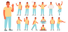 Set Of Character Of A Young Man In Various Poses And Actions. The Guy Is Engaged In Daily Affairs. He Works, Rests, Eats