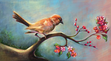 Art Of Nature, Perching Bird That Has Both Blooming Flowers And Fruits. Digital Art Style, Illustration Painting