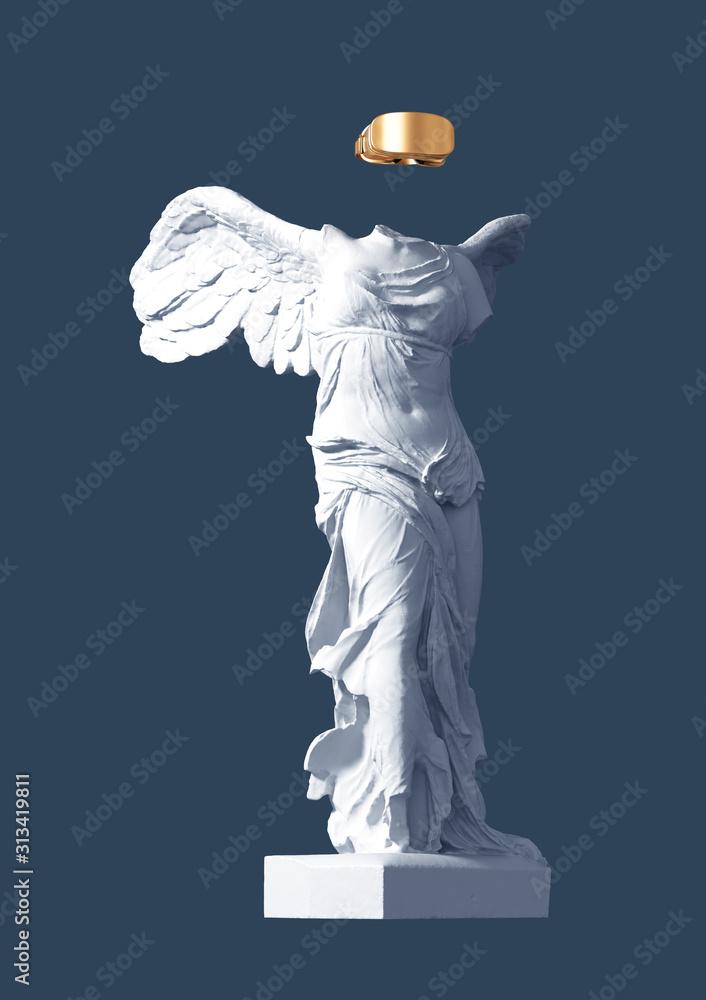 Fototapeta 3D Model Of Winged Victory With Golden VR Glasses On Blue Background