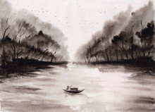 Asian Lake Stock Watercolor Pa...