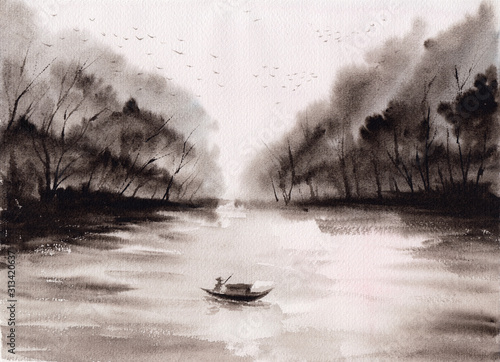 Asian lake stock Watercolor painting with mountains & forest & fisher man boat. Hand drawn oriental style landscape with sea & rocks. Concept for decoration, relaxation, restore, meditation background