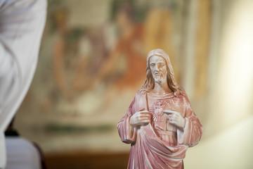 Italian Church Jesus Statue Bust Close Up Radiant Heart
