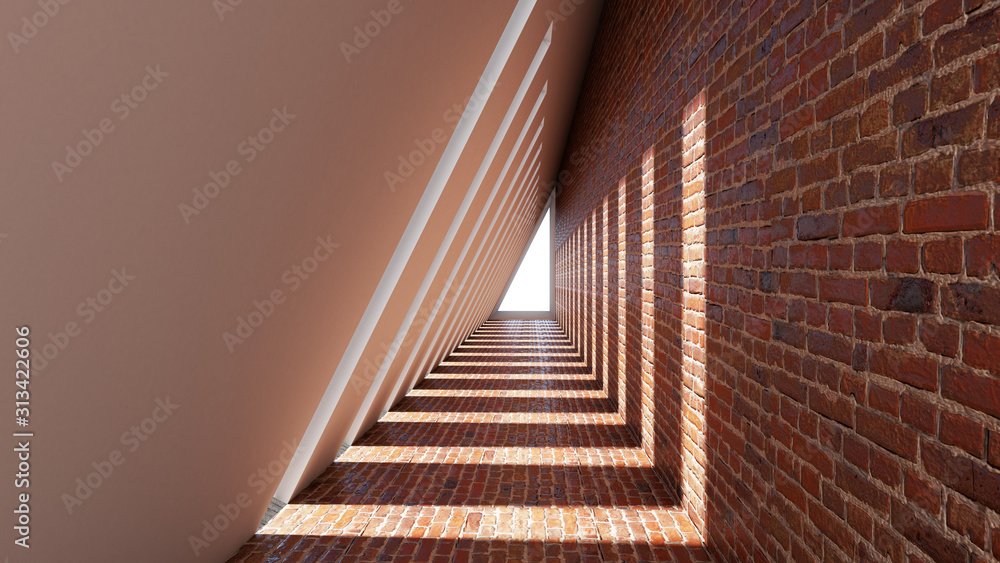Fototapeta 3d render of abstract triangle shape in tunnel background