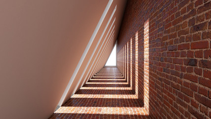 3D prikaz apstraktnog oblika trokuta u pozadini tunela