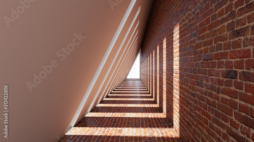 Fototapeta 3d render of abstract triangle shape in tunnel background obraz