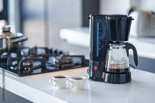 Foto Coffee maker for making and brewing coffee at home