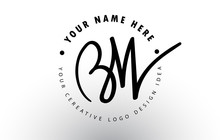 BW Handwritten Letters Logo De...
