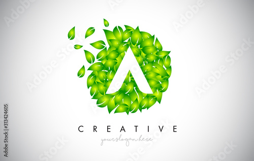 Fototapeta A Green Leaf Logo Design Eco Logo With Multiple Leafs Blowing in the Wind Icon Vector. obraz