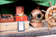 Nautical Artefacts And Antiques At The Izmailovsky Market In Moscow, Russia