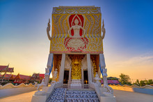 Ban Laem District, Phetchaburi / Thailand / December 30, 2019 : Wat Nok Pak Ta Le, A Beautiful Architecture Of Phra Ubosot Which Was Designed As A Ship.
