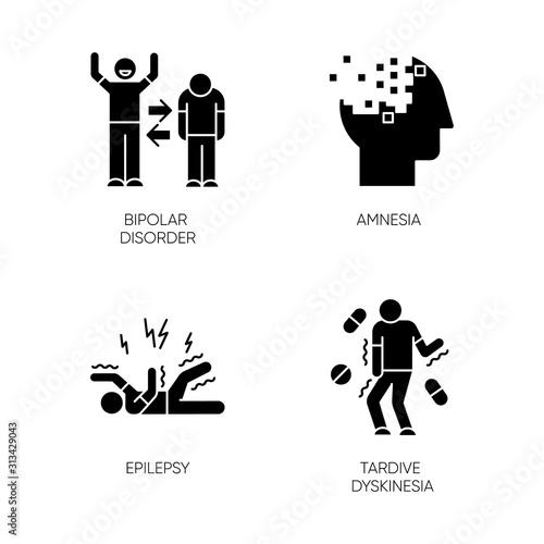 Mental disorder glyph icons set Tablou Canvas