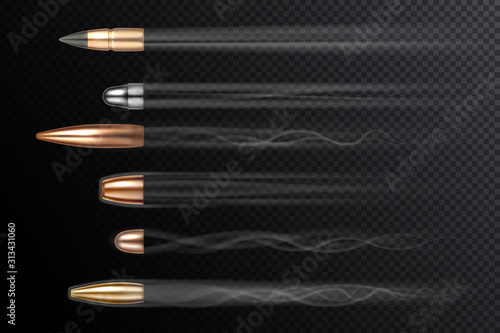 Fotografia, Obraz Flying bullets with shot fire smoke tails, vector realistic isolated on transparent background