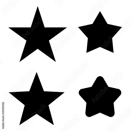 Black Star icon silhouette set. Vector stars Canvas Print
