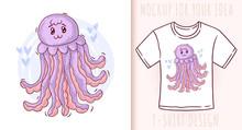 Cartoon Cute Baby Jellyfish. V...