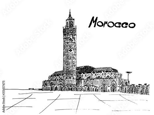 Morocco postcard black ink on white background Fototapete