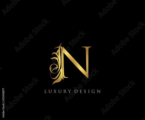 Golden N Luxury Logo Icon, Classy Letter Logo Design. Wall mural