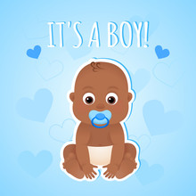 Baby Boy Shower Invitation Card With African American Baby Template Vector