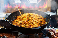 Hot Pilaf In Large Cauldron Ou...