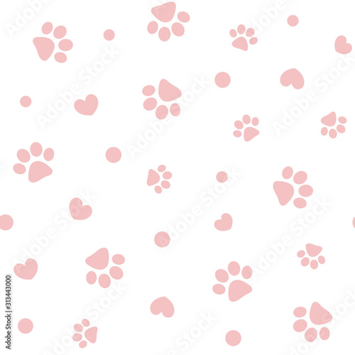 mata magnetyczna Seamless pink pastel pattern with paws and hearts.