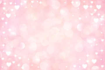 abstract blur soft gradient pink color background with heart shape and star glitter for show,promote and advertisee product  in happy valentine's day collection concept