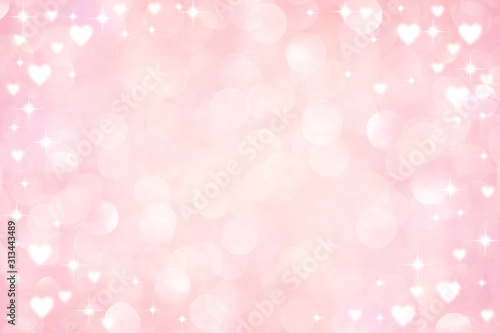 abstract blur soft gradient pink color background with heart shape and star glit Tablou Canvas