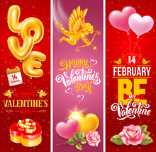 Valentines Day Vertical Banners Set