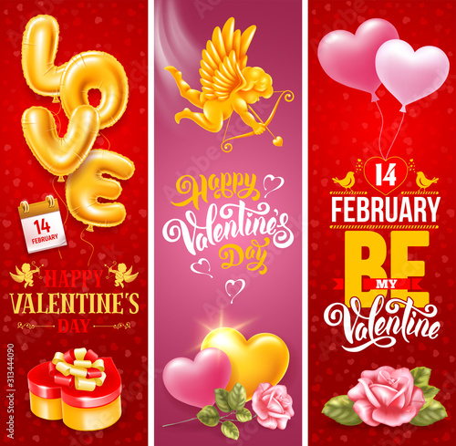 Obraz Valentines Day Vertical Banners Set - fototapety do salonu