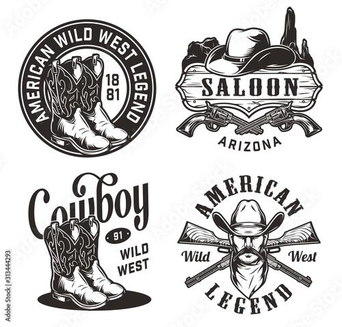 Fotomural  Vintage wild west emblems set