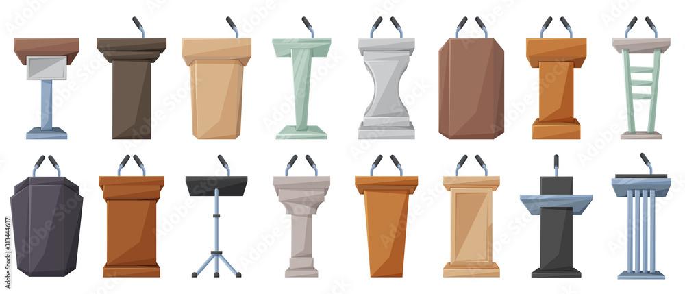 Fototapeta Podium of tribune cartoon vector illustration on white background . Rostrum and podium set icon.Isolated vector illustration icon tribune with microphone.