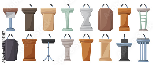 Leinwand Poster Podium of tribune cartoon vector illustration on white background