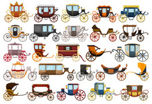 Vintage Carriage Vector Cartoon Set Icon. Vector Illustration Set Cart For Princess. Isolated Cartoon Icon Transport Of Vintage Carriage On White Background .
