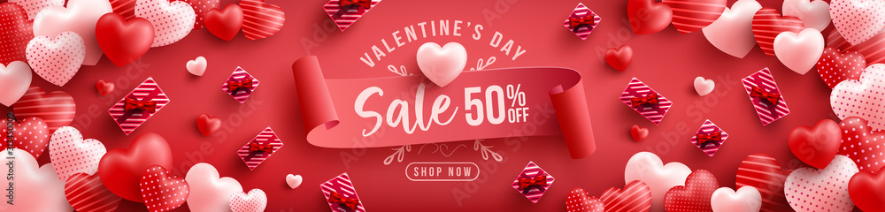 Fototapeta Valentine's Day Sale 50% off Poster or banner with many sweet hearts and on red background.Promotion and shopping template or background for Love and Valentine's day concept.Vector illustration eps 10