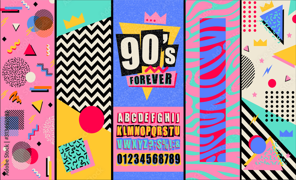 Plakat z lat 90. i 80. Tekstury w stylu retro i mieszanka alfabetu. Estetyczne tło mody i grafika z lat osiemdziesiątych. Szablon imprezy muzyki pop i rock. Vintage wektor plakat, baner.