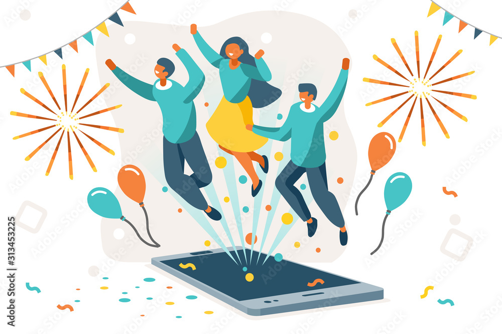 Fototapeta Company contract greeting, successful agreement idea. Friendship to success, friend congratulation. Joy to flying joyful on the air to celebrate an achievement. Young celebration leader. Flat vector.