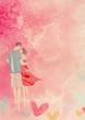 Love concept, watercolor background