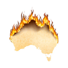 Australia country silhouette is on fire, australia's wildfire concept