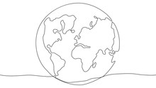 Environment Pollution Concept. Continuous Line Drawing Of Our Planet With All Continents. Vector Illustration
