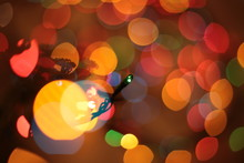 Out Of Focus Multicolor Elegant Garland Bokeh Christmas Macro Background