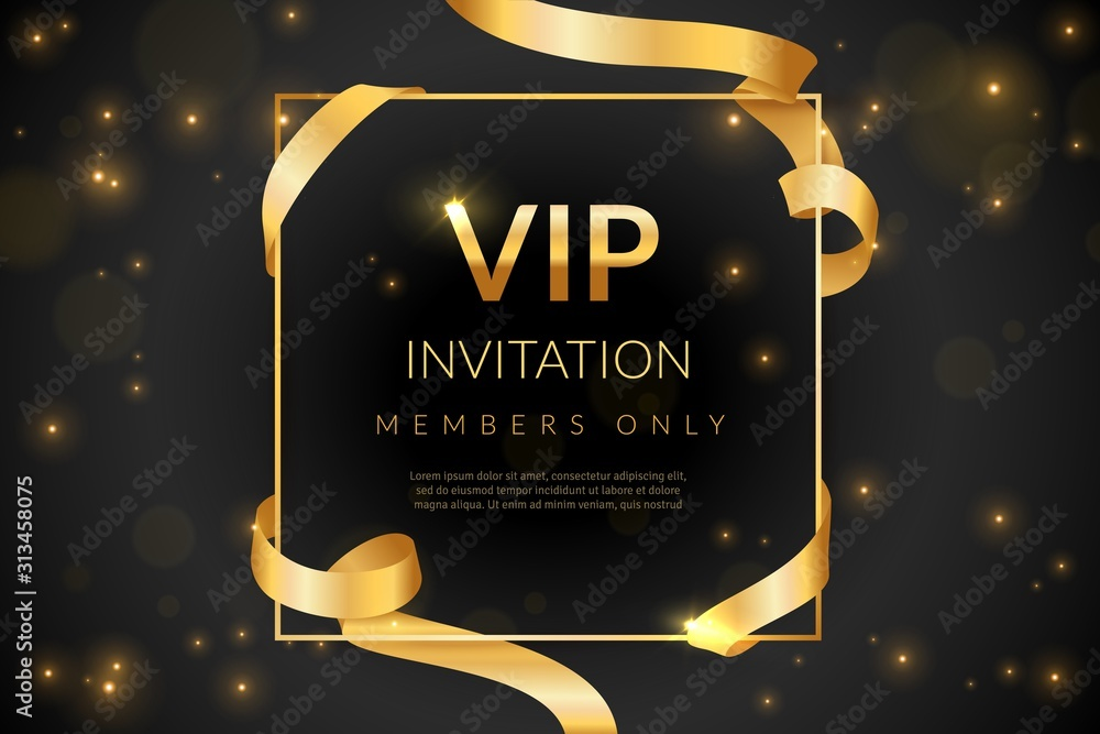 Fototapeta VIP. Luxury gift card, vip invitation coupon, certificate with gold text, exclusive and elegant logo membership in prestige club vector design