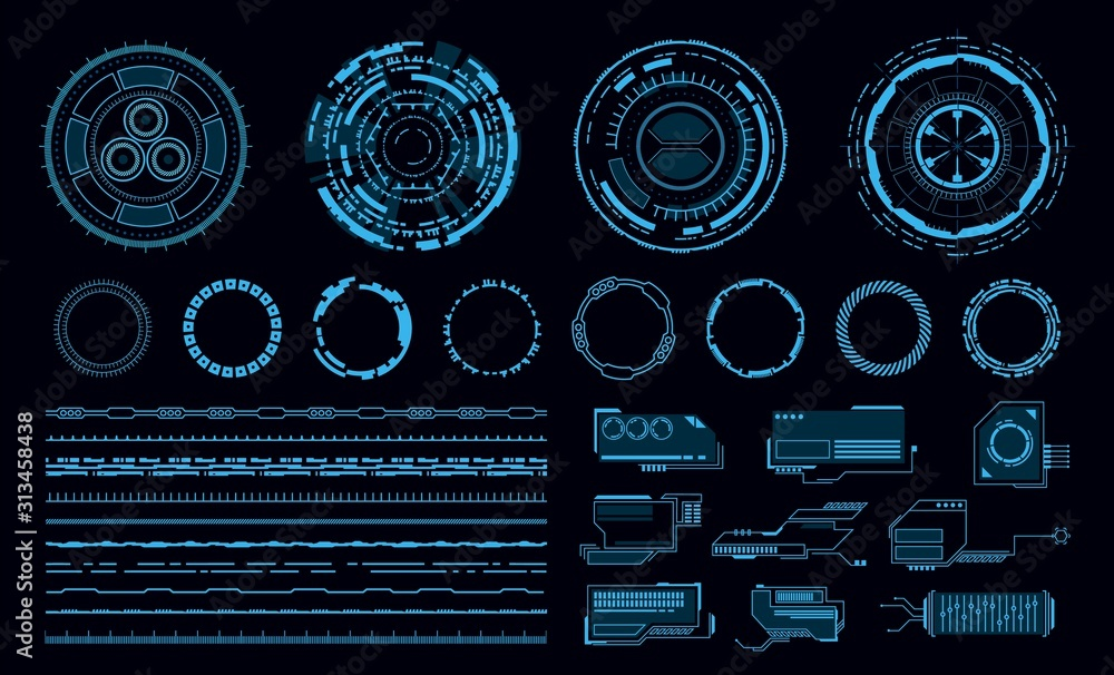 Fototapeta Hud elements. Futuristic blue virtual graphic touch user interface, web application. Line and circle frame and pointer, display vector elements