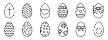 Vector Outline Easter Eggs. Happy Easter Icons