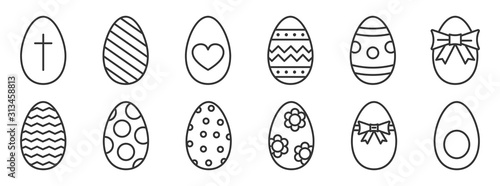 Photo Vector outline Easter Eggs. Happy Easter icons
