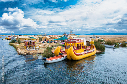 Uros floating islands on Titicaca lake in Puno, Peru, South America.