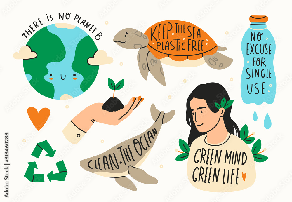 Obraz Earth day. Save the planet theme. Zero waste, plastic free concept. Green world, ecology problem. Hand drawn colored vector set. Trendy illustration. Various quotes. All elements are isolated fototapeta, plakat