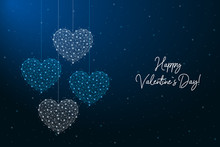 Happy Valentines Day Illustration Made By Points And Lines, Polygonal Wireframe Mesh On Night Sky, Dark Blue Background. Low Poly Greeting Card With Hearts. Vector.