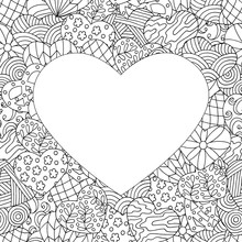 Frame Of Hand-drawn Abstract Hearts, Coloring Page