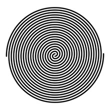 Two Intertwined Large Linear Spirals. Archimedean Spirals Of Black Color With Ten Turnings Of Two Arms Of Arithmetic Spirals, Rotating With Constant Angular Velocity. Illustration Over White. Vector.